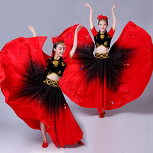 Xinjiang Dance Garment 2018 New style female ethnic dress performance dress adult Uygur large pendulum women dance skirt(China)