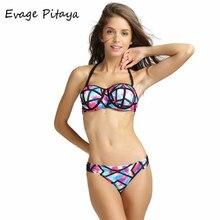 Sexy bandeau bikini push up swimsuit women swimwear strapless bikini 2016 print swim suit beach wear