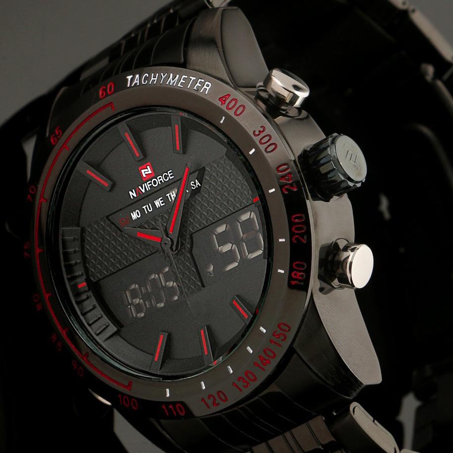 Prix pour 2017 Nouveau Mode Hommes Montres En Acier Plein Hommes de Quartz Heure Horloge Analogique Numérique LED Montre de Sport Militaire Montre-Bracelet