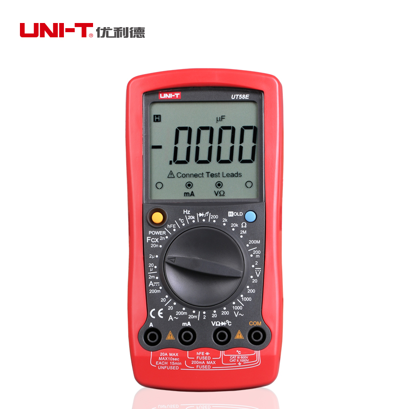 UNI-T UT58E General Digital Multimeters Full Icon LCD DisplayTemperature Frequency Capacitance Diode Transistor AC/DC Tester uni t ut39e general manual range digital multimeters ut 39e transistor dc ac volt ampere resistance capacitance frequency meter