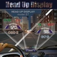 5.8 inch S7 HUD Head Up Display con Interfaz OBD2 Enchufe jugar KM/h MPH Advertencia de Exceso De Velocidad Se Combinan OBD GPS Cambiar Libremente DXY