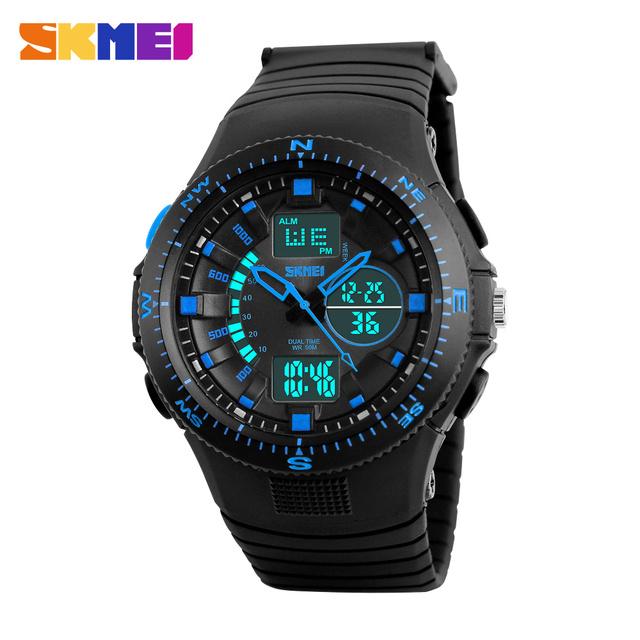 2016 SKMEI Relojes Hombres Impermeable Reloj Deportivo Hombres Relojes de Pulsera de Cuarzo Analógico Digital