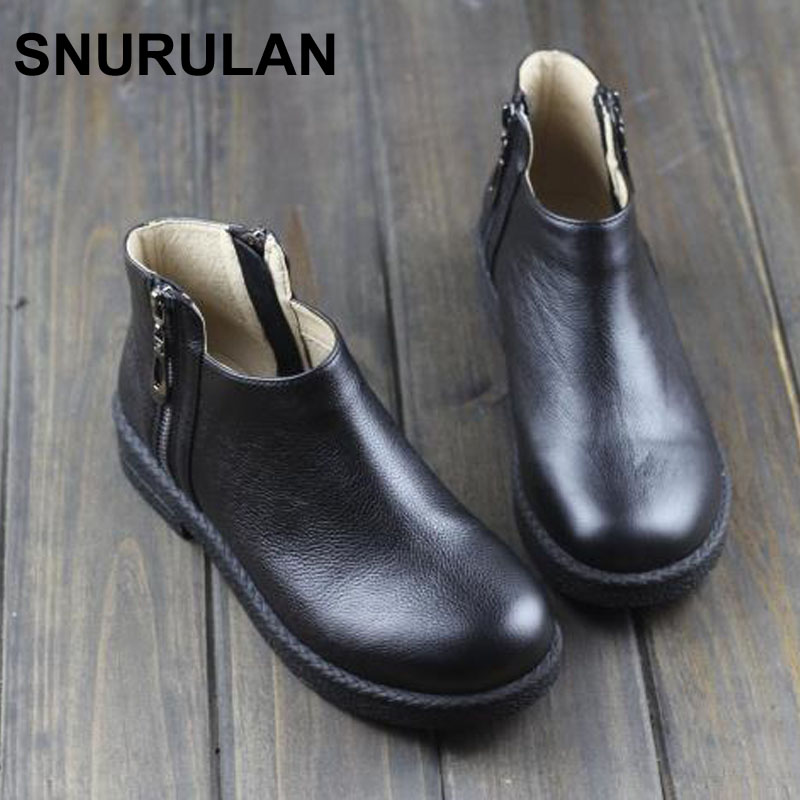SNURULAN Boots Women Shoes 100% Authentic Leather Woman Ankle Boots Anti-slip Rubber Sole Female Spring Autumn Footwear spring autumn boots women soft footwear classic boots female comfortable outdoor shoes aa20131