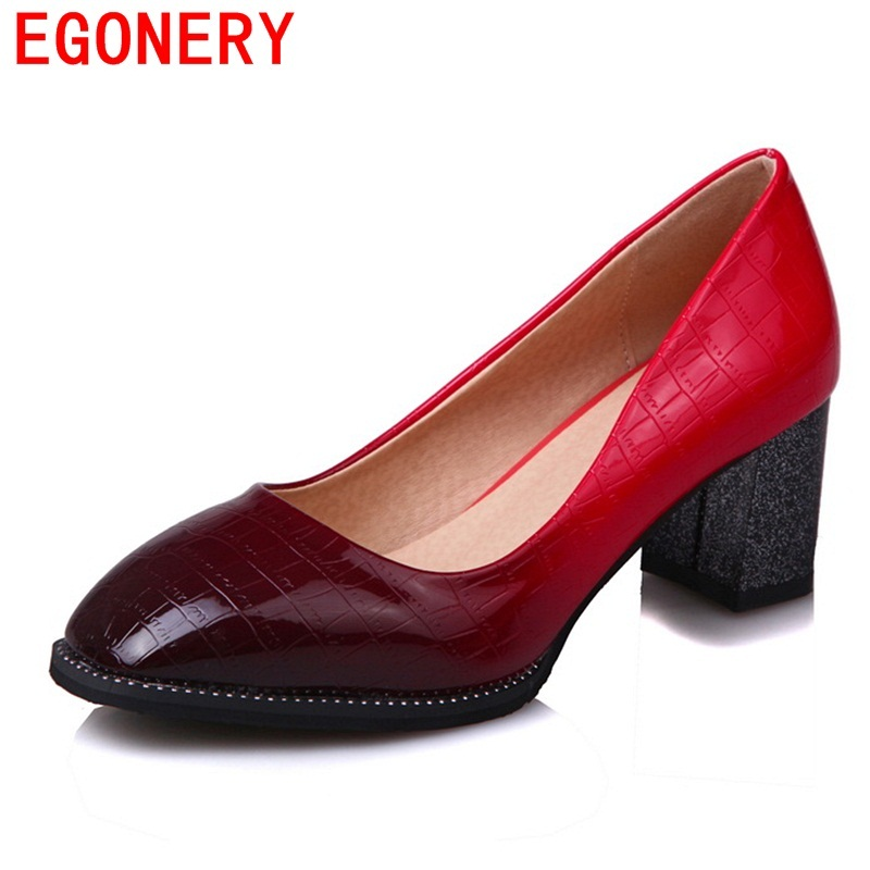 EGONERY office ladies high heels fashion pumps square toe 3 color new style patent leather spring autumn career shoes plus size egonery new sweet lady round toe faux leather slip air spring dress women pumps heels shoes plus size us 12