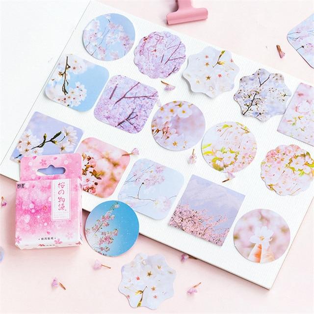 45 unids/pack Kawaii flores japonés decoración diario lindo diario flores pegatinas Scrapbooking copos papelería suministros escolares