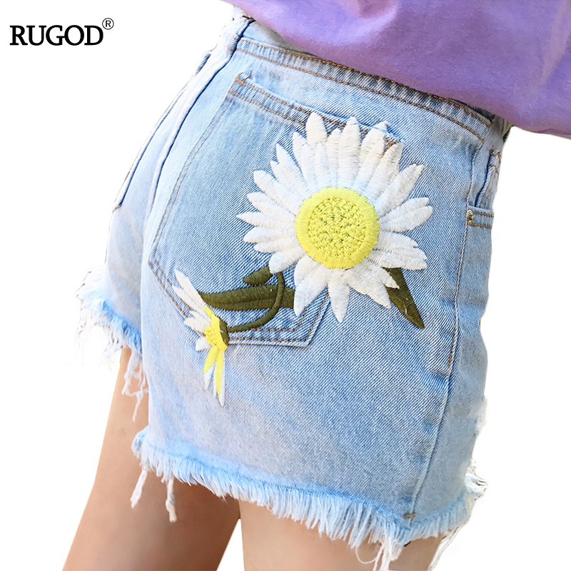 Rugod women sweet floral embroidery tassel denim shorts plus size 2017 Femme High Waist short jeans Ripped summer Short Pants
