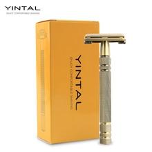 YINTAL 100% Brass 11.3 CM Nostalgic Long Handle Butterfly Open Double Edge Safety Razor Mens Manual Shaving Razors