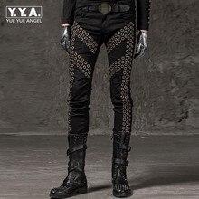 Зимние Новые повседневные мужские брюки-карандаш модные однотонные эластичные брюки с заклепками в стиле панк облегающие хип-хоп брюки для уличных танцев