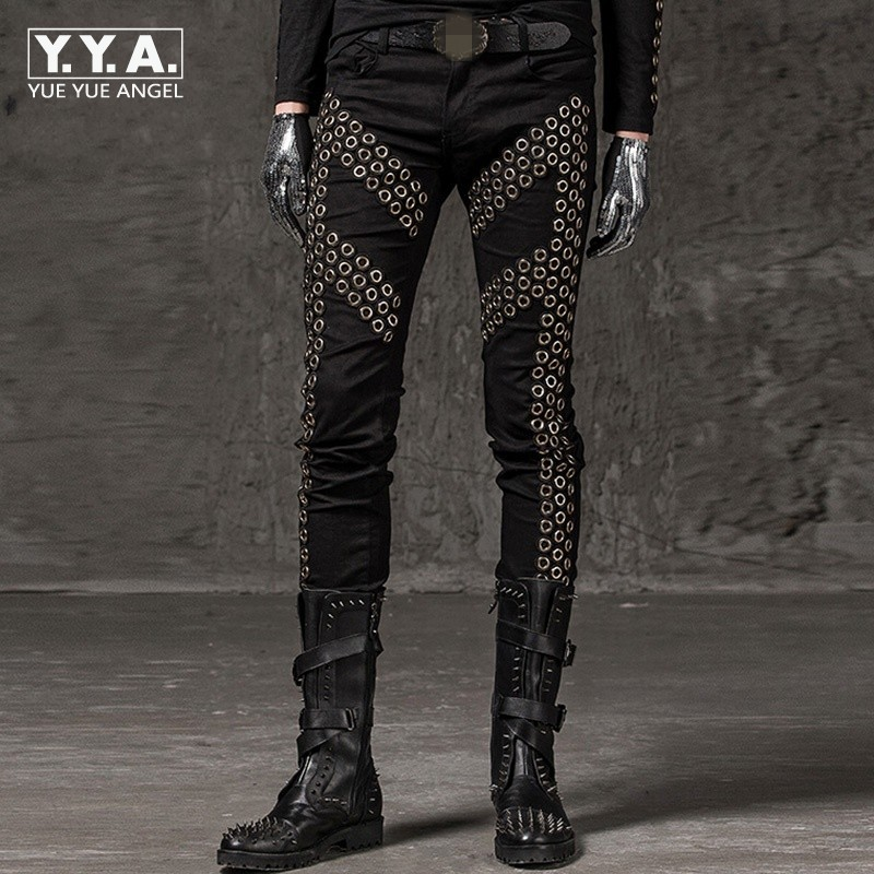 2019 Winter New Casual Men Pencil Trousers Fashion Solid Rivet Elastic Pants Punk Style Slim Fit Hip Hop Street Dance Pants