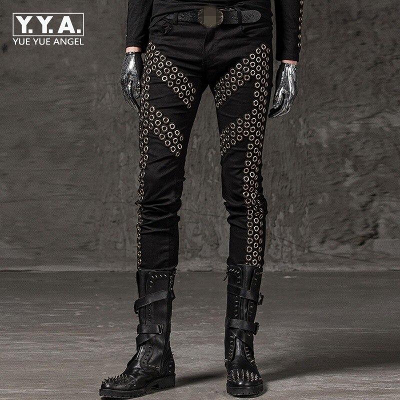 2019 冬の新鉛筆のズボンのファッション固体リベット弾性パンツパンクスタイルスリムフィットヒップホップストリートダンスパンツ  グループ上の メンズ服 からの スキニーパンツ の中 1