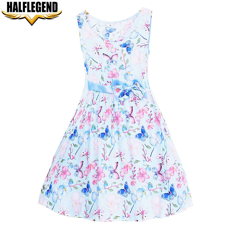 7 Color 2018 Summer Baby Girl Dress A-Line Floral Dresses for Girl Fashion Brand Clothing Cotton Kids Princess Sundress with Bow unini yun 2 7t girl dress baby kids summer flower cherry backless sundress girl cotton sleeveless princess beach casual dresses