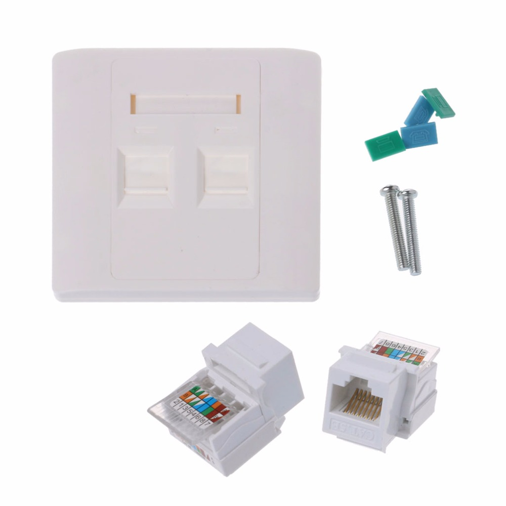 2 Ports RJ45 Network Wall Plate With Female to Female Connector AP16