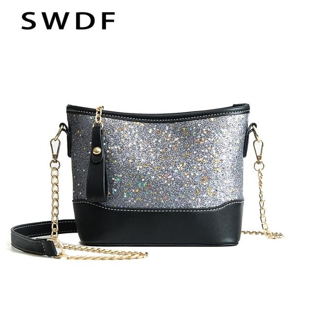 Swdf 2018 New Women Star Galaxy Buckets Luxury Handbags Chains Diamond Bucket Designer Shoulder Bag Las