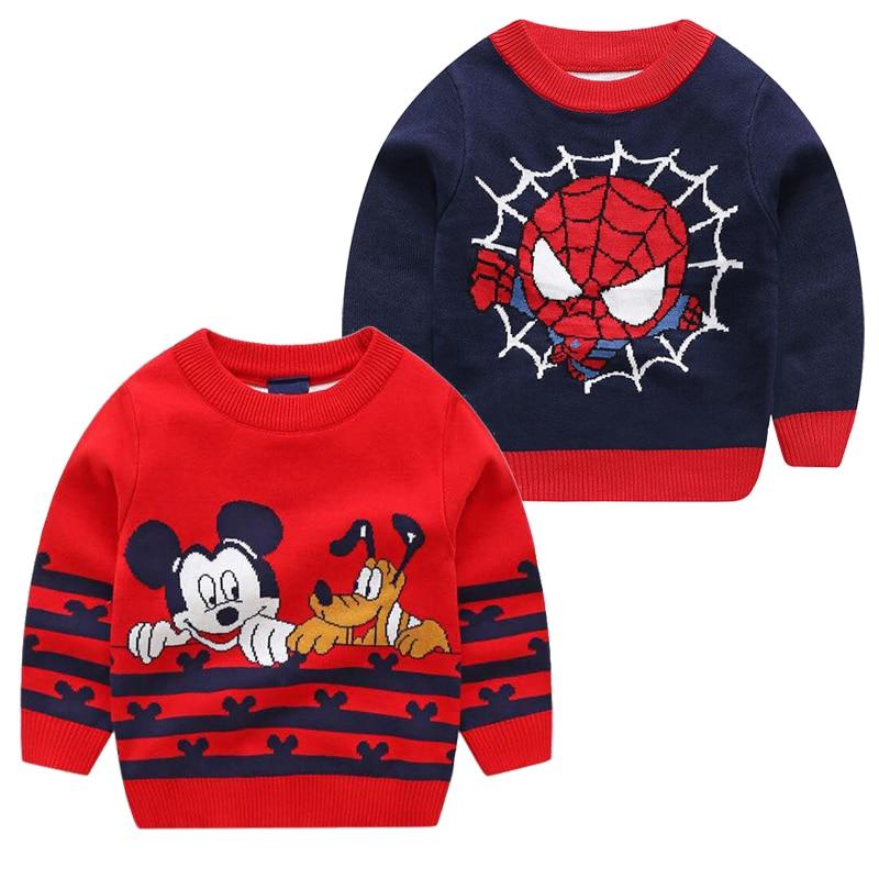 Autumn Winter Children's Girls Warm Sweaters Boy Marvel Avengers Spider-Man Round Neck Sweater Baby Cartoon Mickey Minnie Shirt