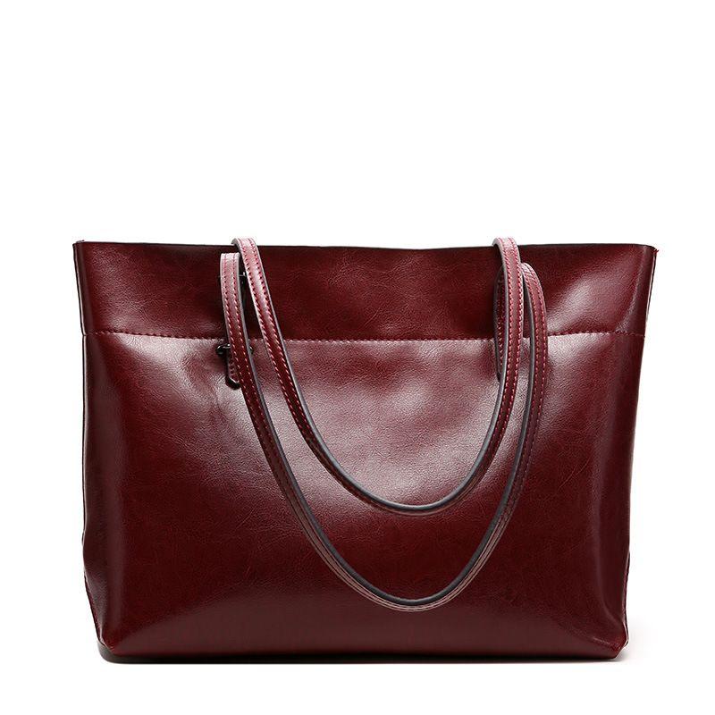 Мода 2017 г. Разделение кожа Для женщин сумки  B AG плечо сумка-шоппер простой тотализатор сумка-мешок ~ большой Ёмкость ~ 16B67