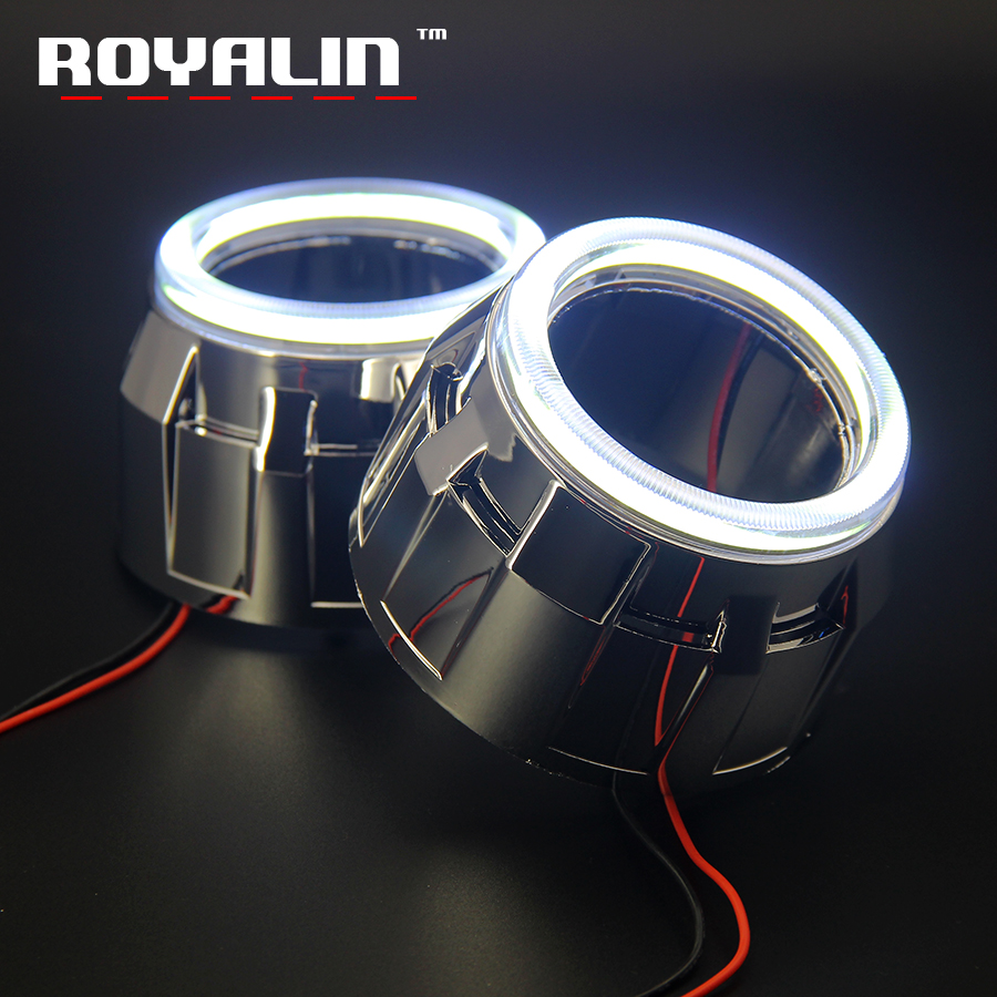 ROYALIN DRL LED COB Angel Eyes Daytime Running Light Halo Shrouds Masks Bezel Hood For Mini