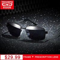 TRIUMPH VISÃO Retângulo Óculos de Miopia Motorista Óculos Polarizados Óculos de Sol Dos Homens Anti-Reflexo Óculos de Lentes de Prescrição Estilo Durão