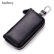 Genuine Cow Leather Men & Women Car Key Bag Wallet Multi Function Key Case Fashion Housekeeper Holders 6 Key Rings(China)