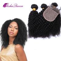 Aisha queen странный бразильский человеческих волос 3 Связки с 1 шелк закрытие 4x4 натуральный черный Волосы remy