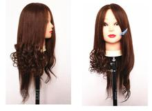 60CM female hair mannequin makeup practice hairdressing head,real wigs with rack,M00625B GIFT
