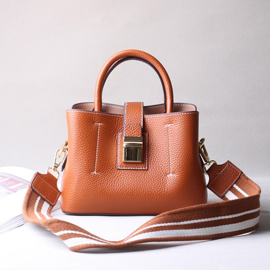 Designer Handbag Leather Bucket Bag Casual Tote Women Messenger Bags Ladies Wide Strap Shoulder Bag