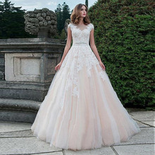 Blush Pink Wedding Dress Floor Length Button Back Beach Dresses Appliqued with Lace Princess Bridal Gowns