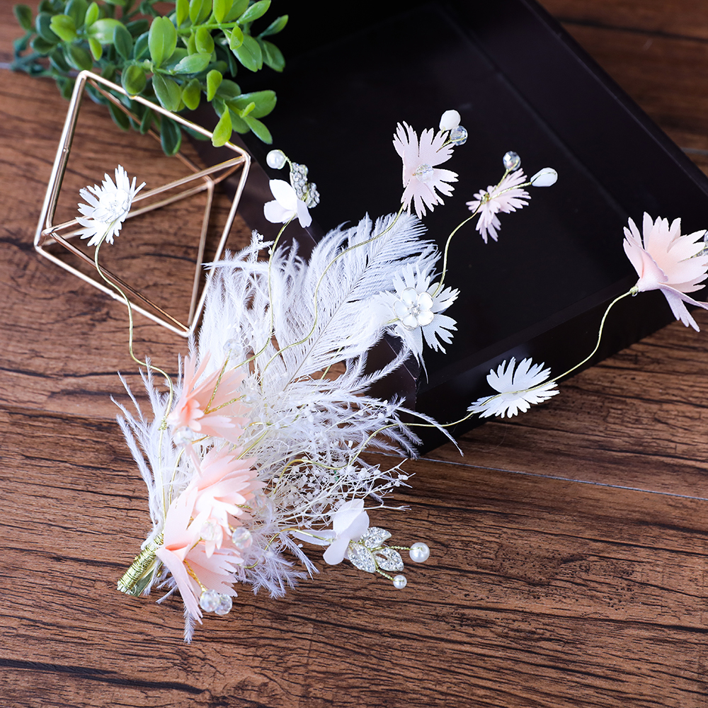 Pink Flower Artificial Feather Hair Clips Princess Bridal Wedding Headpiece Hairgrips Hair Jewelry Ornaments Party Barrttes Gift