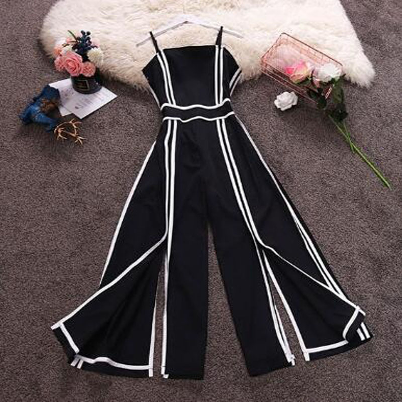Women Striped High Waist Wide Leg Patchwork Strap Chiffon   Jumpsuits   Summer Split Rompers Women Rompers And Jumpsuites 2019