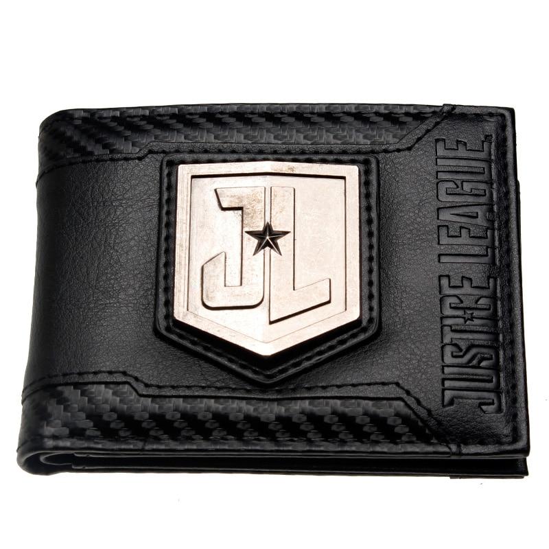 Justice League Movie Metal Logo Men's Bi-Fold Wallet DFT-3009 captain america black metal badge bi fold wallet faux leather dft 1413