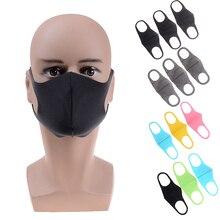 1/3 Pcs Black Kpop Mond Masker Ademend Unisex Spons Gezichtsmasker Herbruikbare Anti Vervuiling Gezicht Shield Wind Proof Mond Cover