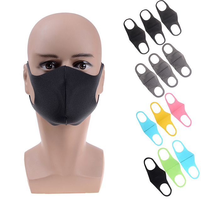 1/3 Pcs Black Kpop Mouth Mask Breathable Unisex Sponge Face Mask Reusable Anti Pollution Face Shield Wind Proof Mouth Cover