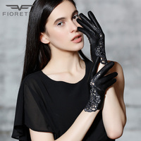 Fioretto Winter Fashion Women Genuine Leather Gloves Black Touchscreen Driving Ladies Leather Gloves Unlined Sexy Cool Party