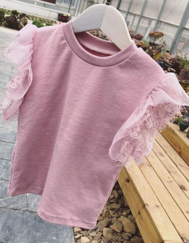 Топы для маленьких девочек; летняя хлопковая черная футболка для малышей с кружевными рукавами для детей - Цвет: Розовый