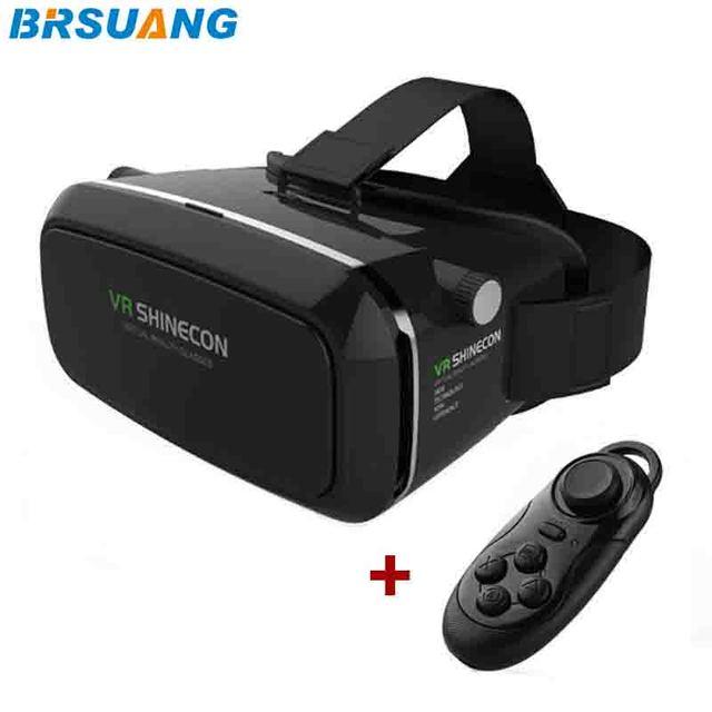 100 шт./лот VR SHINECON 3.5-6.0 дюймов Виртуальной Реальности 3D Фильмов Игры Очки + Bluetooth Пульт Дистанционного Управления для iPhone Google HTC и т. д.