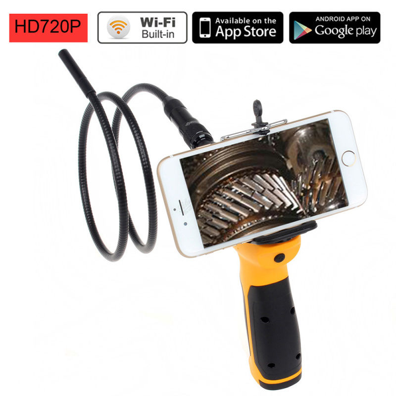 цены 720P HD Wifi 9mm Endoscope Borescope Snake Camera Car Inspection Tool Drain Cam Free Shipping
