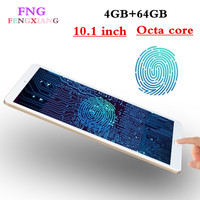 Fingerprint Recognition 10.1 inch Android 7.0 tablets Octa Core IPS tablet pcs 4GB+64GB wifi GPS 3G Mobile phone Tablet pc 10