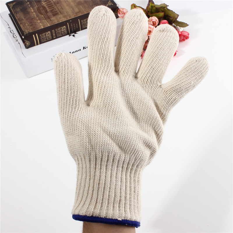 1pcs Thicken Double Cotton 450 Celsius High Quality Super Heat Resistant Anti Burn Heatproof Gloves Oven Kitchen White 1 double cotton gloves white green