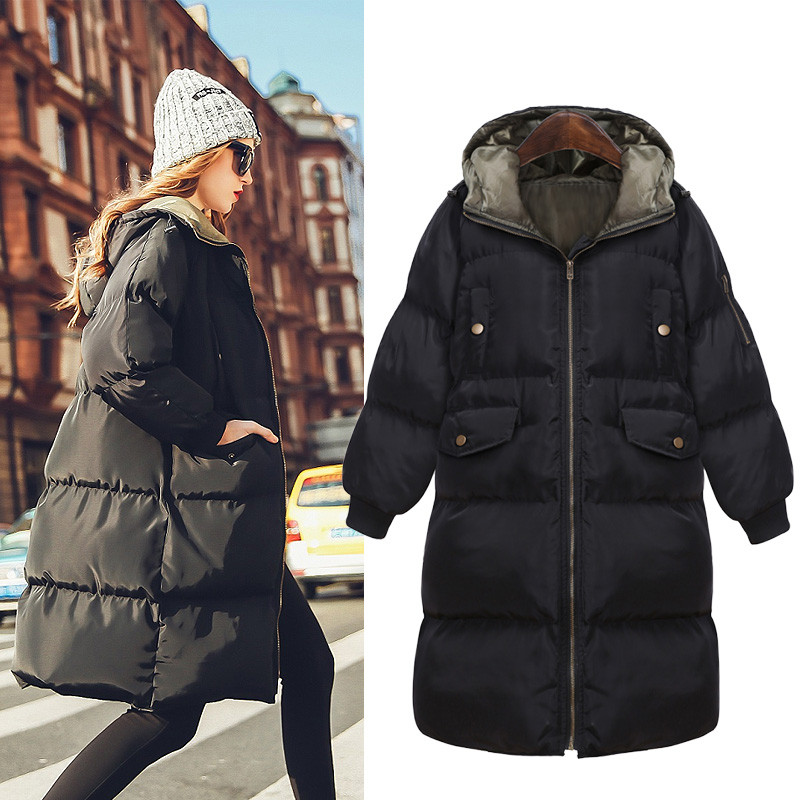 Women's Winter Jacket Loose Casual   Parkas   Women Jackets Thick Cotton Jacket Coat Warm Coat Hooded Overcoat Chaquetas Mujer C1703