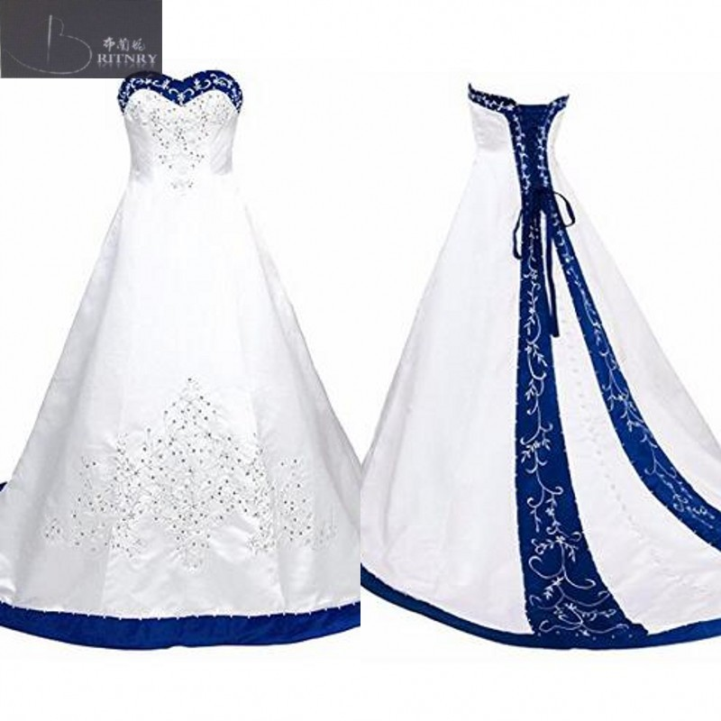 Vintage Sweetheart A Line Wedding Dress 2018 Embroidery White and Blue Satin Vintage Wedding Dress M170717