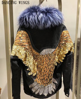 Back Handmade Beaded Eagle Embroidery Denim Parka Thick Warm Natural Fox Fur Liner Winter Jacket With Real Raccoon Fur Collar