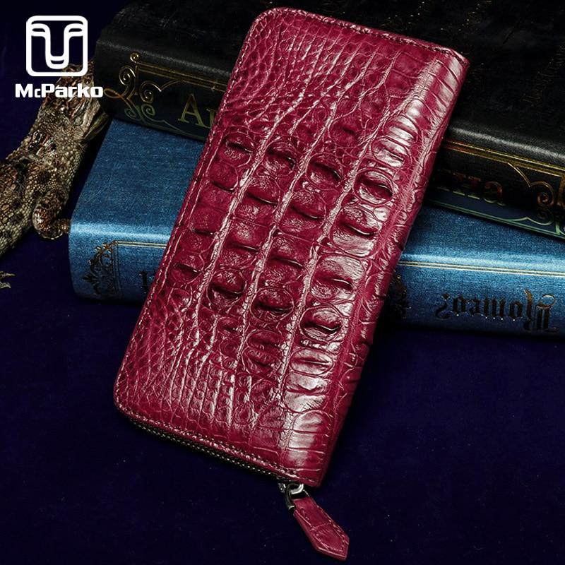 McParko Genuine Leather Wallet Women Luxury Brand Clutch Wallet Fashion Ladies Zipper Long Wallet Crocodile Leather Female Purse