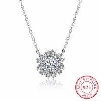 Top fashion 100% 925 sterling silber eingelegte zirkon schneeflocke halskette schmuck design fit original feine handwerk mädchen gif