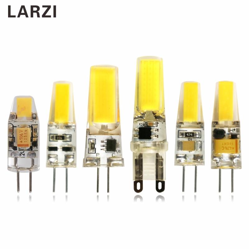 LARZI Dimmable LED Lamp G4 G9 AC DC 12V 220V 1W 2W 3W COB LED Bulb Mini G4 G9 360 Beam Angle Replace Halogen Lights