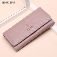SENDEFN NEW Genuine Leather Wallet Women Long Slim Lady Casual Day Clutch Card Holder Phone Pocket Wallet Female Purse 5058 6
