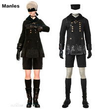 YoRHa No.9 Type S Costume NieR:Automata 9S Cosplay Outfit Halloween Carnival Costume Black Game Suit Adult Men Custom Made Male(China)