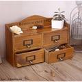 4 Drawers Vintage Solid Wood Antique Tabletop Cabinet