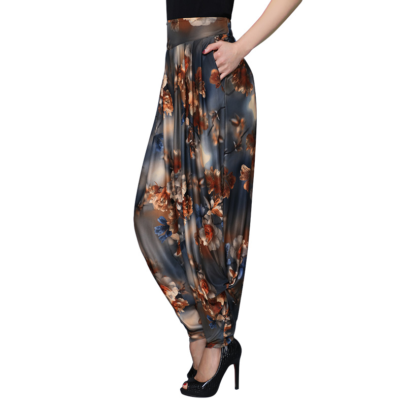 woman summer large size printing wide leg pants loose thin pants casual pants harem pants elastic waist long trousers female