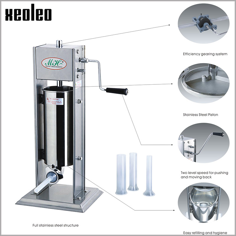 XEOLEO Manual Sausage filling machine 3/5/7L Sausage filler Stainless steel Vertical Sausage stuffer machine Food filler machine economic and practical manual cream paste filling machine manual liquid filling machine 5 50ml manual liquid filler factory