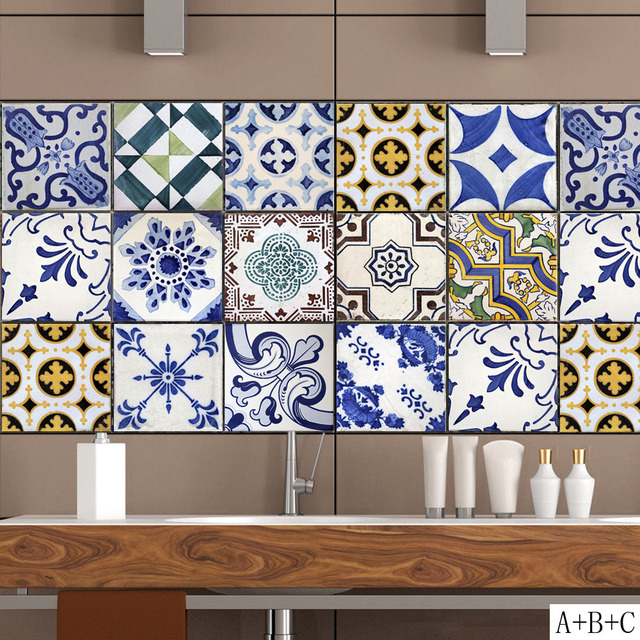 Tile Decor Store: Aliexpress.com : Buy Pattern Retro Tile Sticker PVC