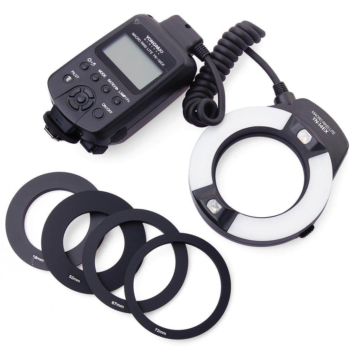 YN-14EX Macro Ring TTL Flash Light + Adapter for Canon DSLR 6D 7D LF464 yn e3 rt ttl radio trigger speedlite transmitter as st e3 rt for canon 600ex rt new arrival